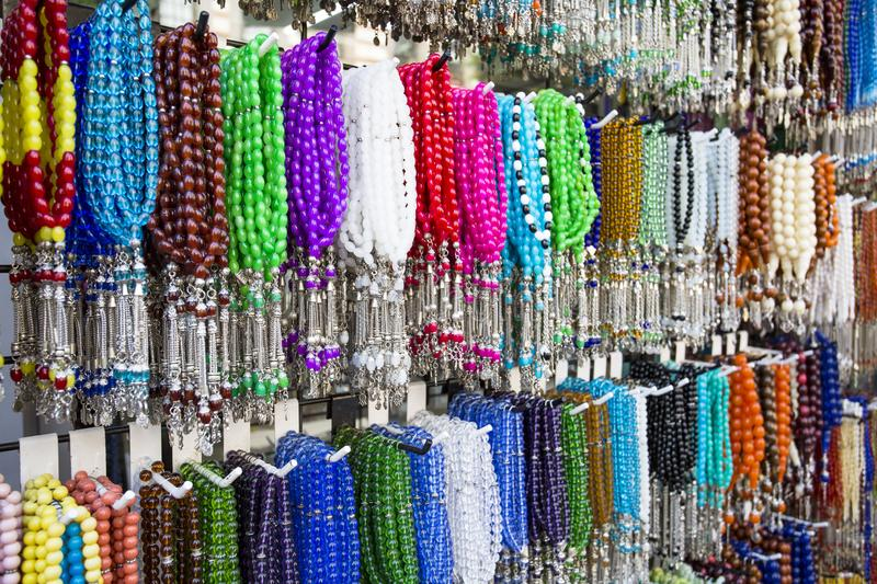 Traditional Turkish rosary tesbih and colorful bead.  stock images