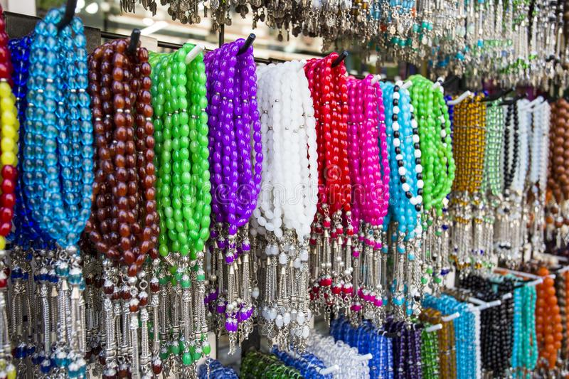 Traditional Turkish rosary tesbih and colorful bead.  royalty free stock photos
