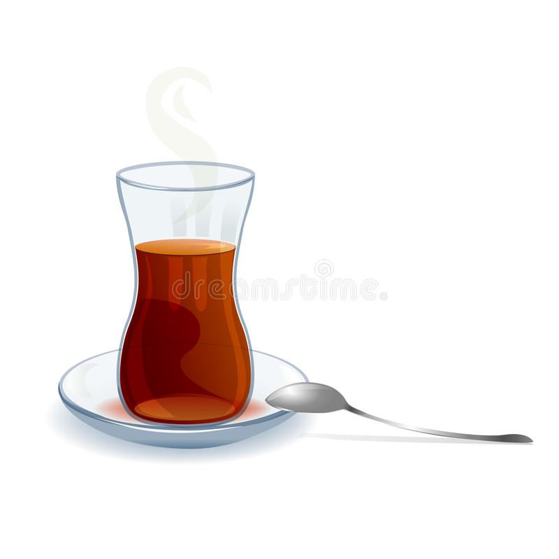 Traditional Turkish tea with a spoon. Vector illustration royalty free illustration