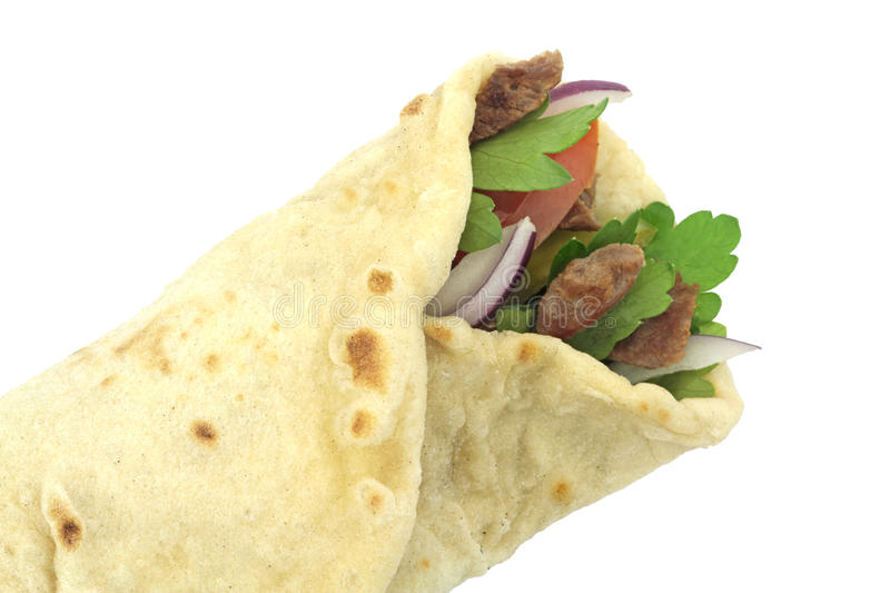 Traditional Turkish wrap roll bread. Durum doner kebab.  royalty free stock photos