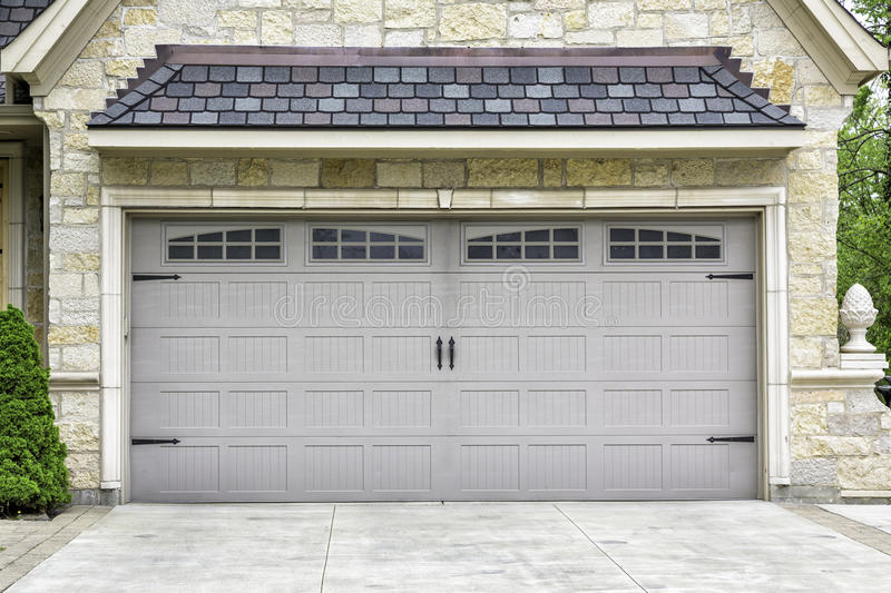 Traditional two car garage stock image