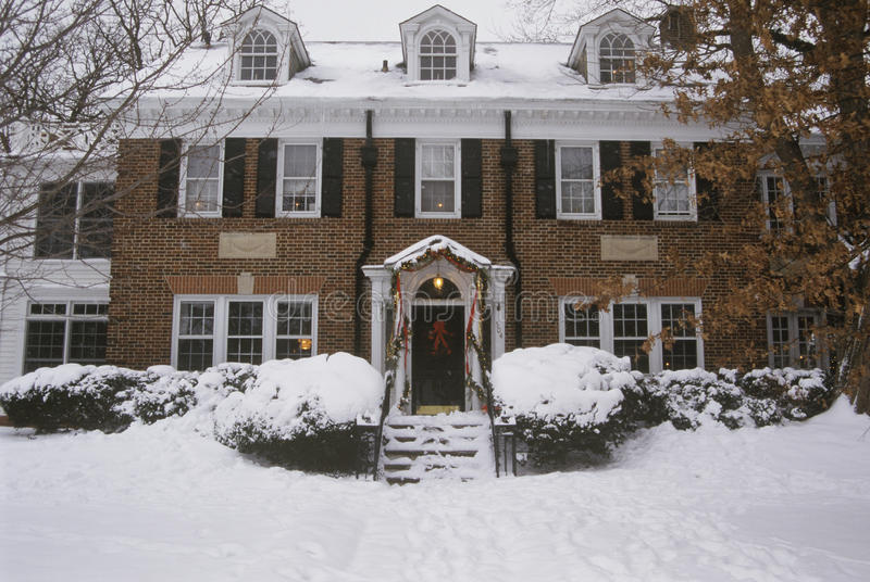 Traditional two-story home. At Christmas, St. Louis, MO royalty free stock images