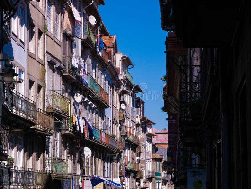 Traditional, typical Portuguese houses in Porto, Portugal. Compressed perspective stock image