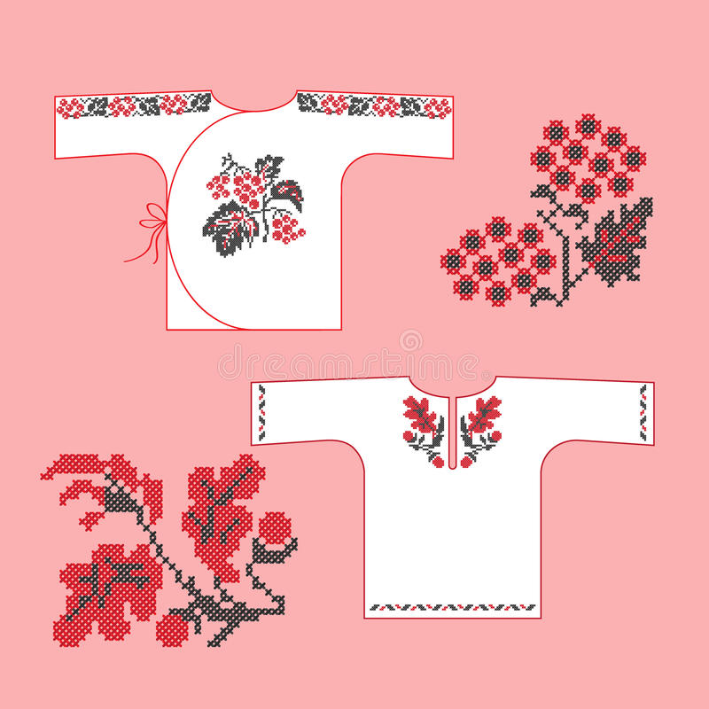 Traditional Ukrainian embroidered baby's shirts royalty free illustration