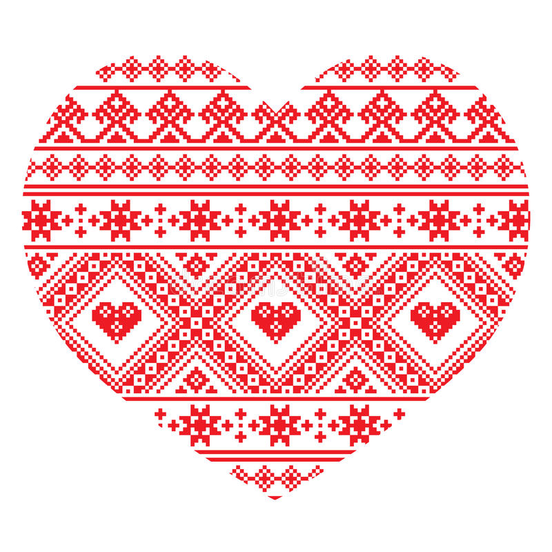 Traditional Ukrainian folk art heart knitted red embroidery pattern royalty free illustration
