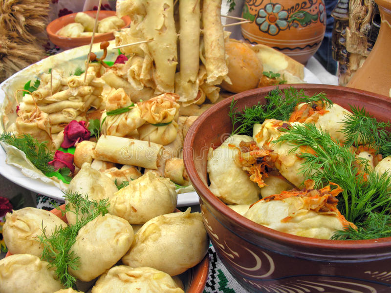 Traditional ukrainian food. In assortment in festive decorating#8 royalty free stock image