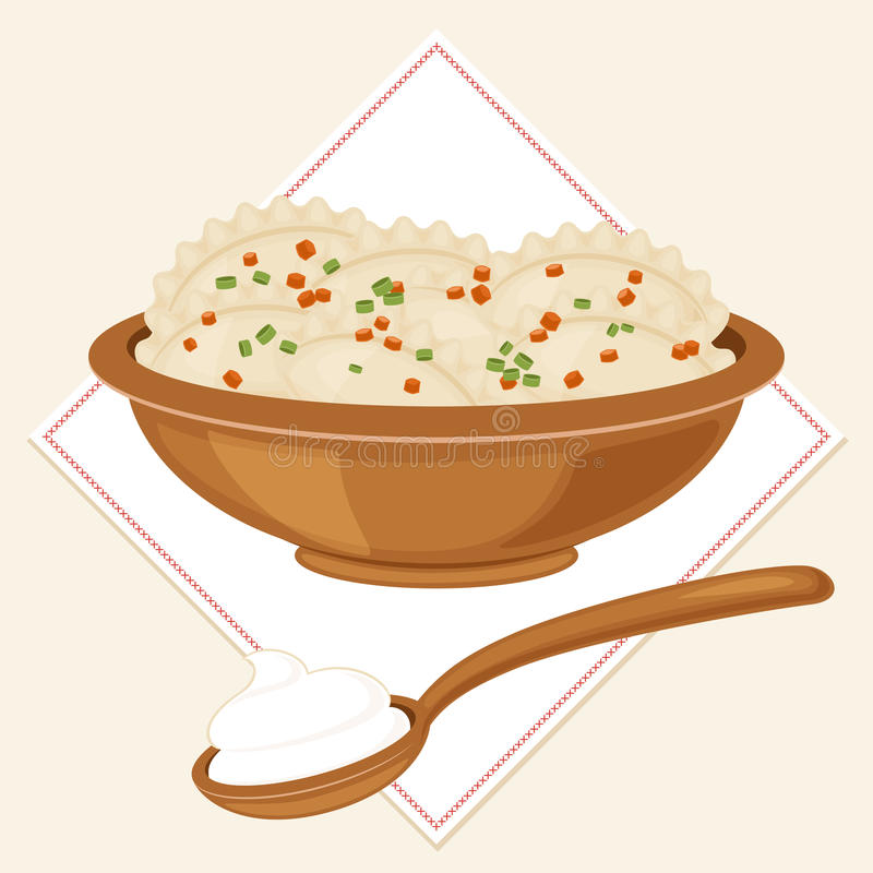 Traditional Ukrainian food varenyky. Not dumplings, not pierogies in a bowl with a full spoon of sour cream. Vector art. Eps 10 vector illustration