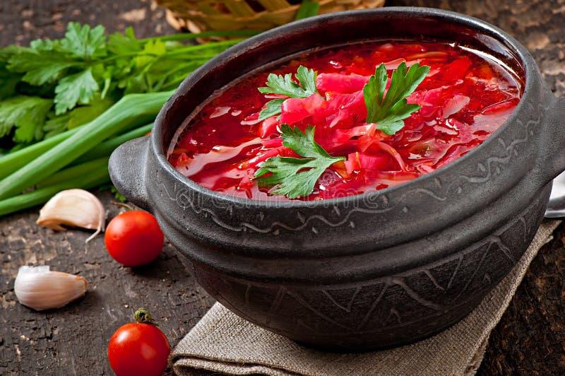 Traditional Ukrainian Russian vegetable borsch royalty free stock photo