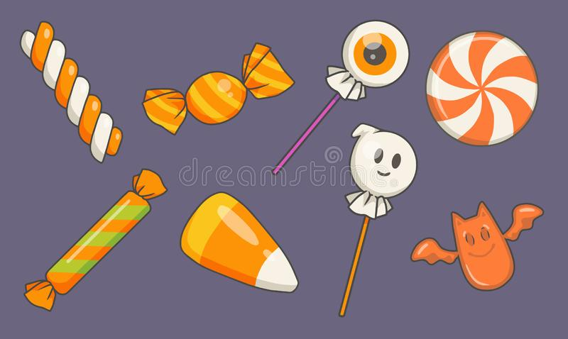 Traditional vector cartoon Halloween candy illustrations inlcuding ghost and eyeball lolly, drop and candy corn vector illustration