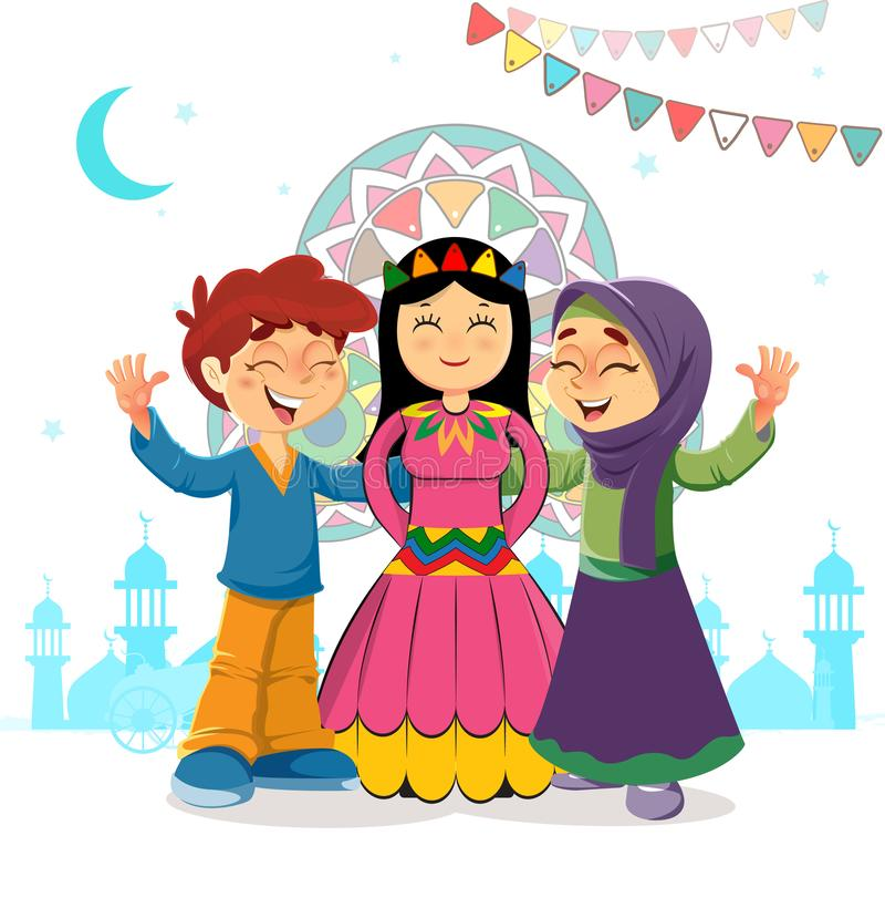 Traditional Vector Islamic Greeting Card of Two Kids and Mawlid Bride Celebrating, Holiday of Prophet Muhammad Bithday vector illustration