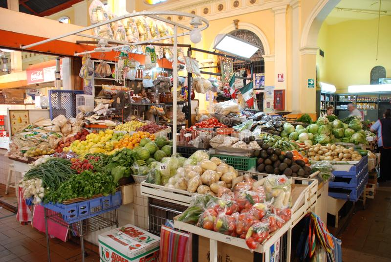 Traditional vegetable market in Hermosillo Mexico. Fruit and vegetable stand inside the municipal market of Hermosillo Mexico royalty free stock photo