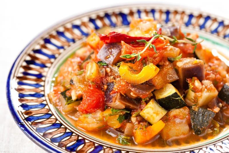 Traditional vegetable ratatouille. On white background stock image