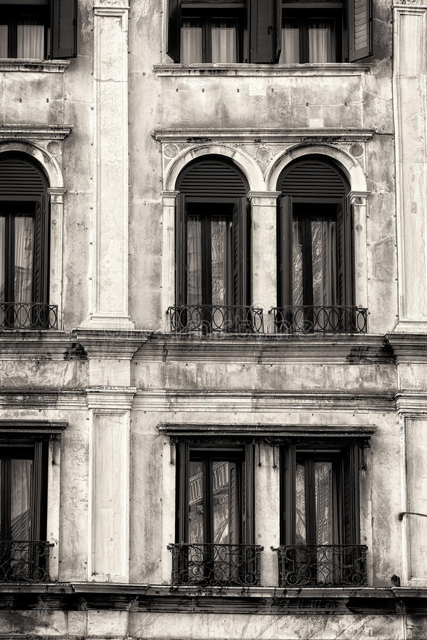 Traditional Venetian Facade. Black and White royalty free stock images