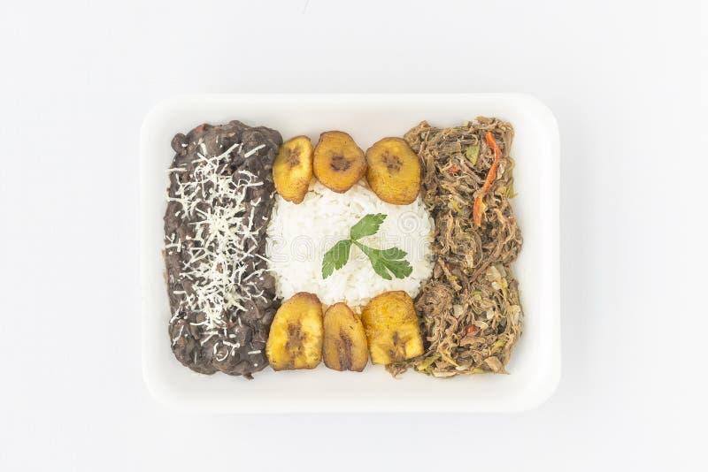 Traditional Venezuelan dish called Pabellon Criollo.  stock photo