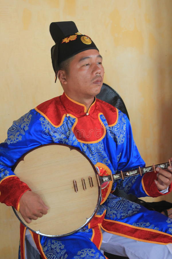 Traditional Vietnam music performance event in Hue. Traditional Vietnam music performance event, located in Hue, on April 9th, 2015. Vietnam people perform royalty free stock photos
