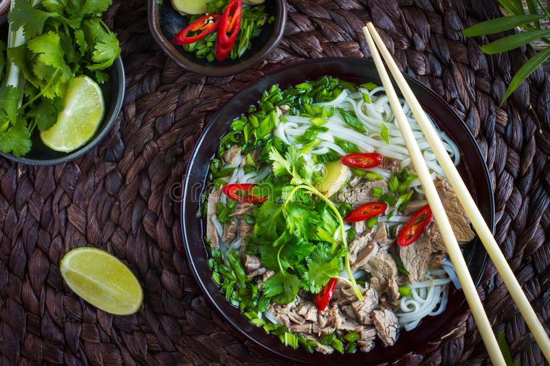 Traditional Vietnamese soup Pho with beef and rice noodle royalty free stock photos