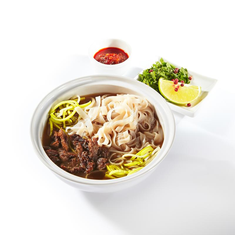 Traditional Vietnamese Soup Pho Bo with Beef Meat Isolated royalty free stock image