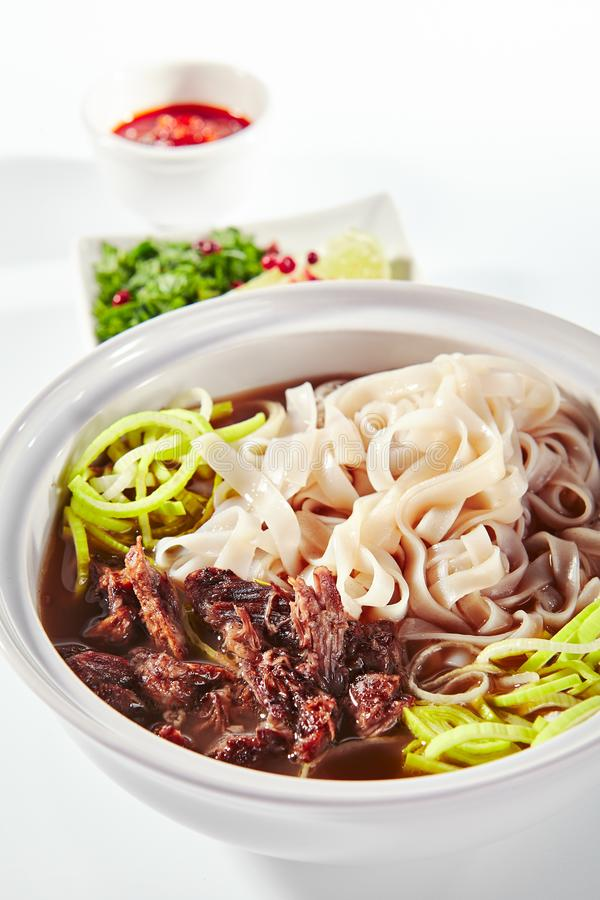 Traditional Vietnamese Soup Pho Bo with Beef Meat Isolated stock photos
