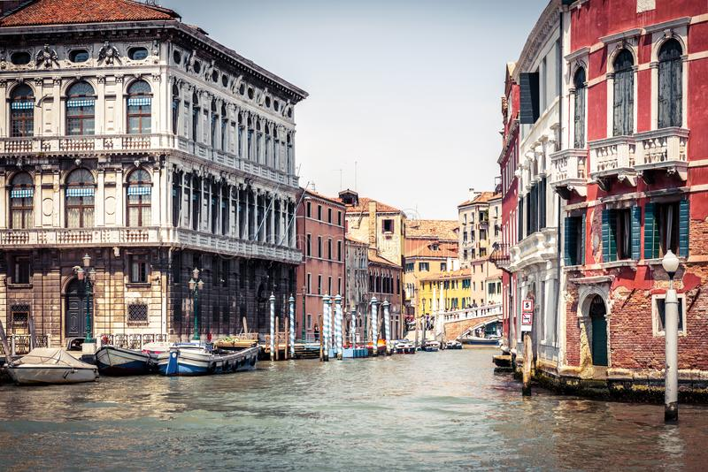 Traditional view of a city crossroad in Venice, Italy stock images