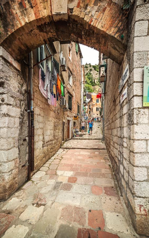 Traditional view of the street in the ancient city of Kotor stock images