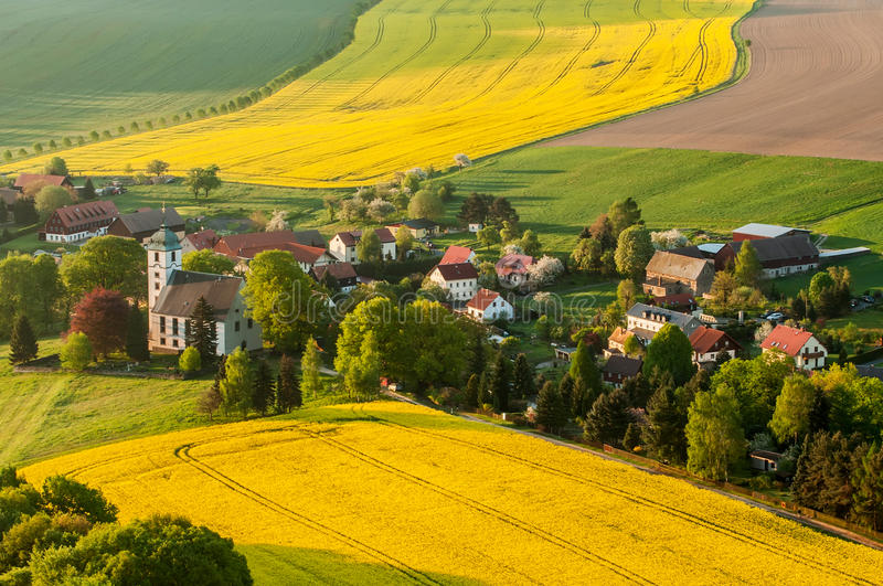 Download Traditional Village stock photo. Image of church, fields - 26637988