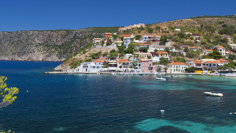 Traditional village of Assos at Kefalonia royalty free stock photo
