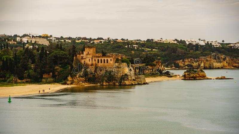 The traditional village and castle of Portimao in Algarve, Portugal. stock photo