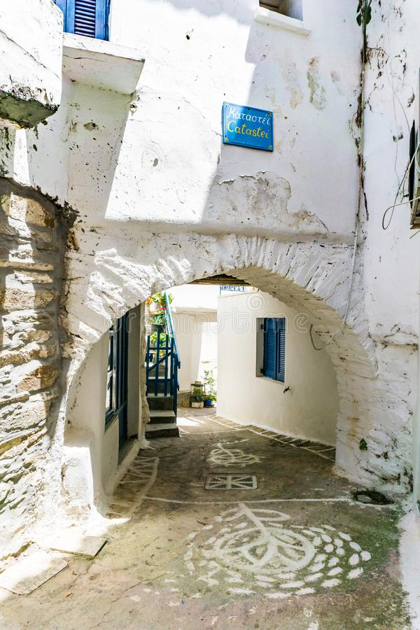 Street view in Driopis Driopida, the traditional village of cycladic island Kythnos in Greece stock photography