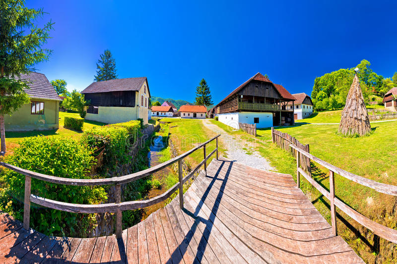 Traditional village of Kumrovec in Zagorje region of Croatia pan stock images