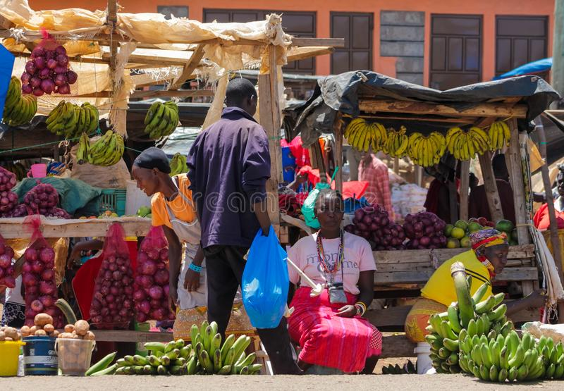 Traditional village market Africa, Kenya royalty free stock photo