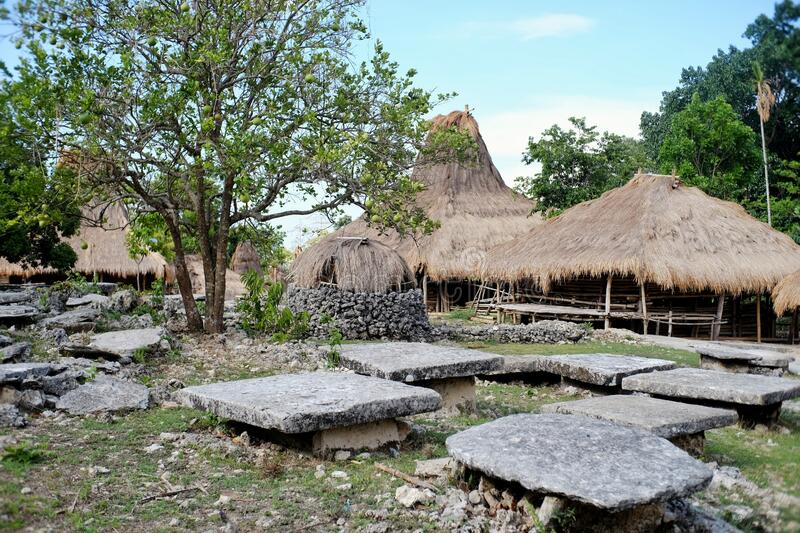 Traditional village in West Sumba, NTT. That uses material from thatch, bamboo and wood stock photos
