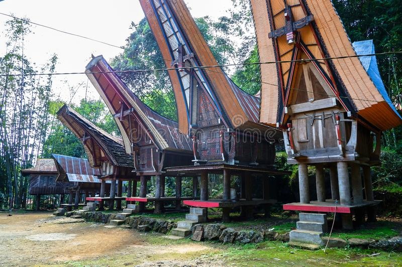 The traditional villages at Tana Toraja, Sulawesi. This photo was taken in Tana Toraja, Sulawesi, Indonesia. Tana Toraja is located in the norhtern highlands of royalty free stock photo