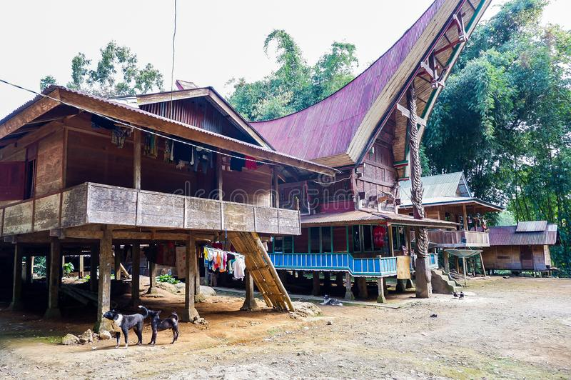The traditional villages at Tana Toraja, Sulawesi. This photo was taken in Tana Toraja, Sulawesi, Indonesia. Tana Toraja is located in the norhtern highlands of stock image