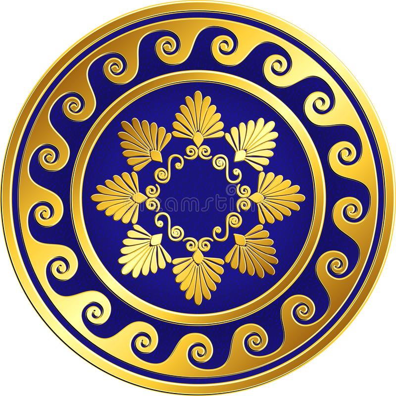 Vector Traditional vintage gold Greek ornament, Meander. Traditional vintage Golden round Greek ornament, Meander and floral pattern on blue background . Gold stock illustration