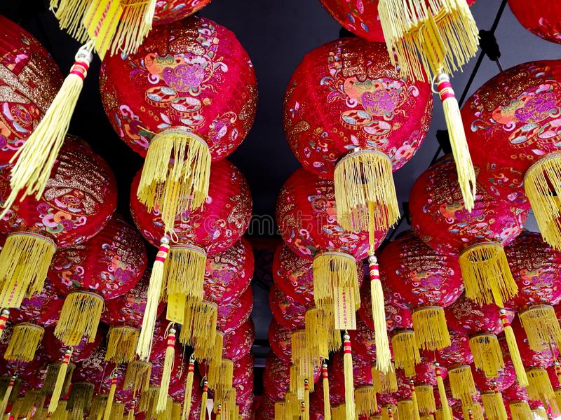 Traditional beautiful red Chinese lanterns royalty free stock images