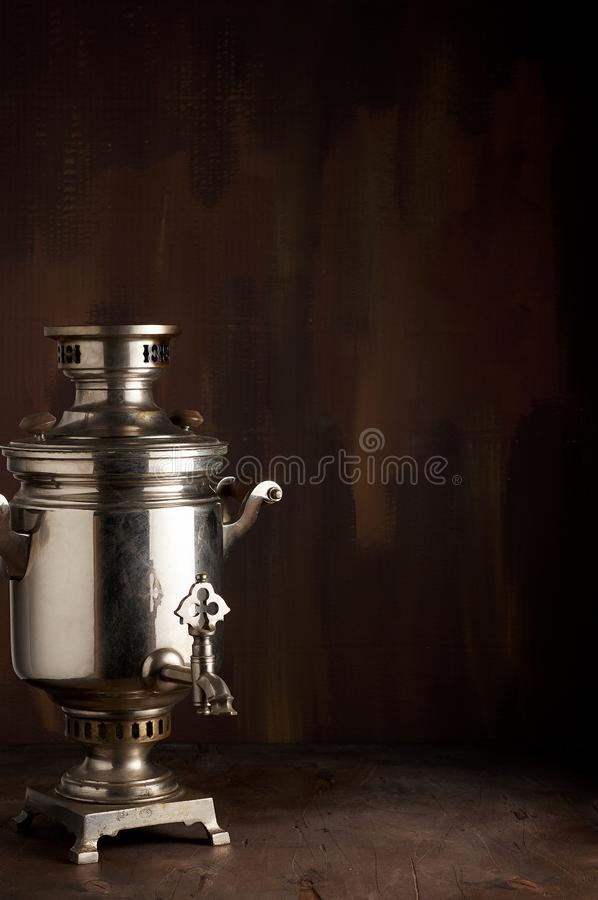 A traditional vintage water boiler pot for tea Russian Samovar royalty free stock images
