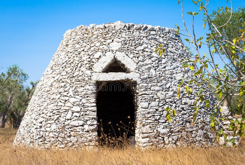 Puglia Region, Italy. Traditional warehouse made of stone. This traditional warehouse is named Furnieddhu in local dialect. All structure made of stone, used to royalty free stock photography