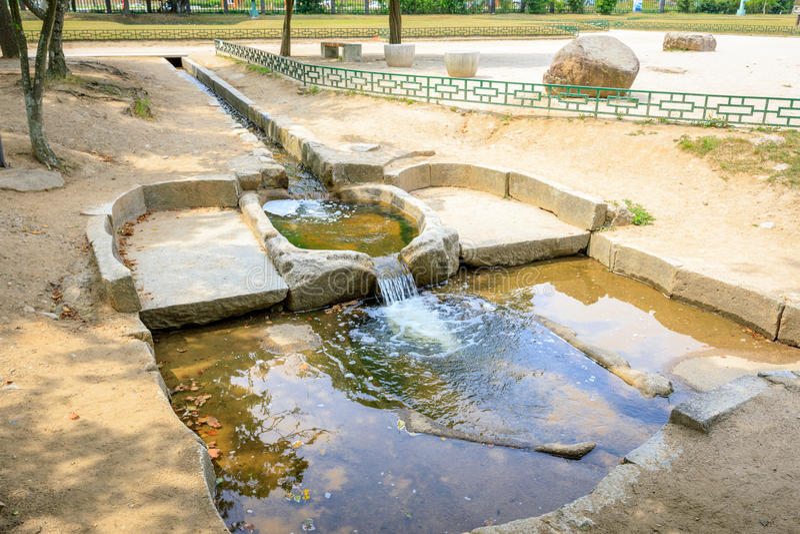 Traditional water filter system at Donggung Palace in Gyeongju,. S.Korea royalty free stock photo