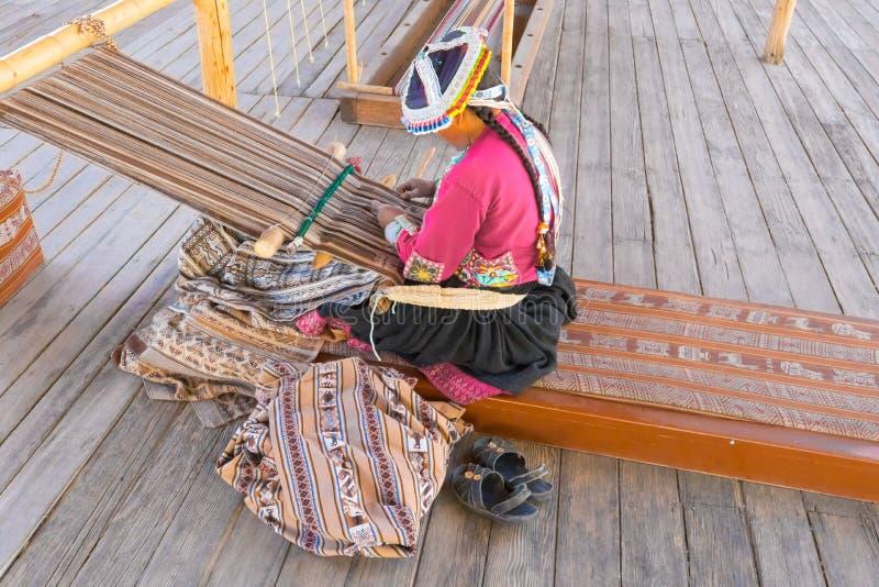 Traditional weaving of alpaca wool Arequipa Peru royalty free stock photography
