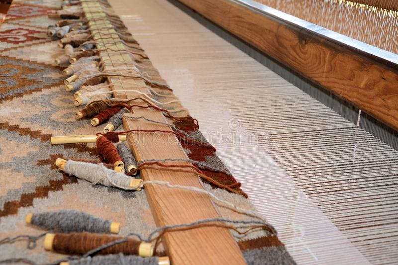 Traditional weaving loom for rugs. Traditional weaving to make carpets or rugs in Oaxaca Mexico stock photography