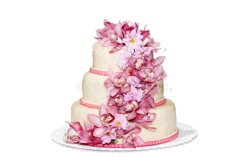 Download Traditional Wedding Cake With Orchid Flowers Stock Photo - Image: 22012248