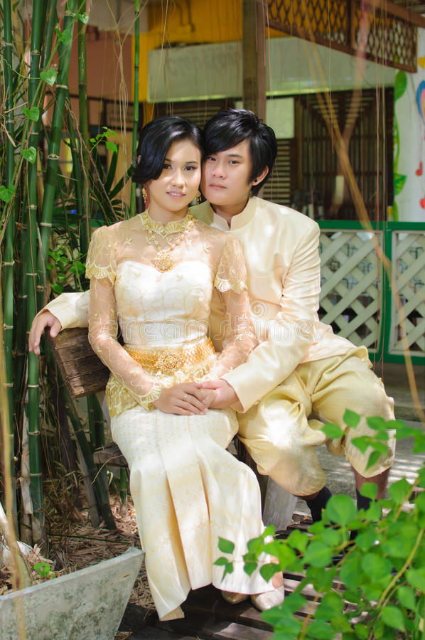 A Traditional Wedding Dress, Thailand. Stock Photo - Image of ...