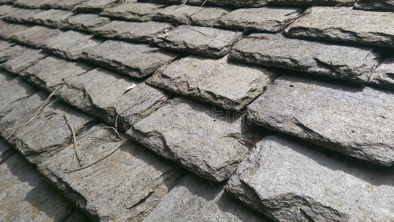 Traditional Welsh roofing slates stock photo