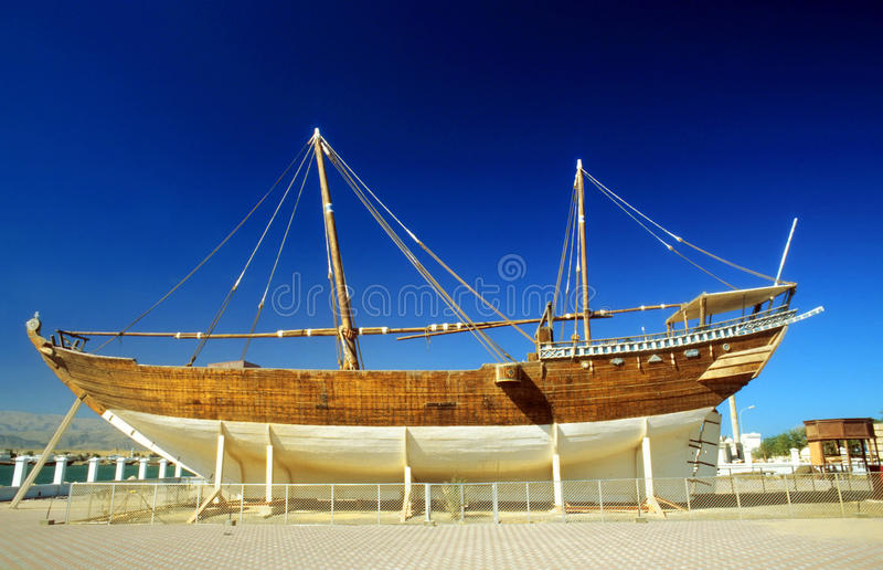 Traditional wharft for wooden dhaus in Sur stock photos