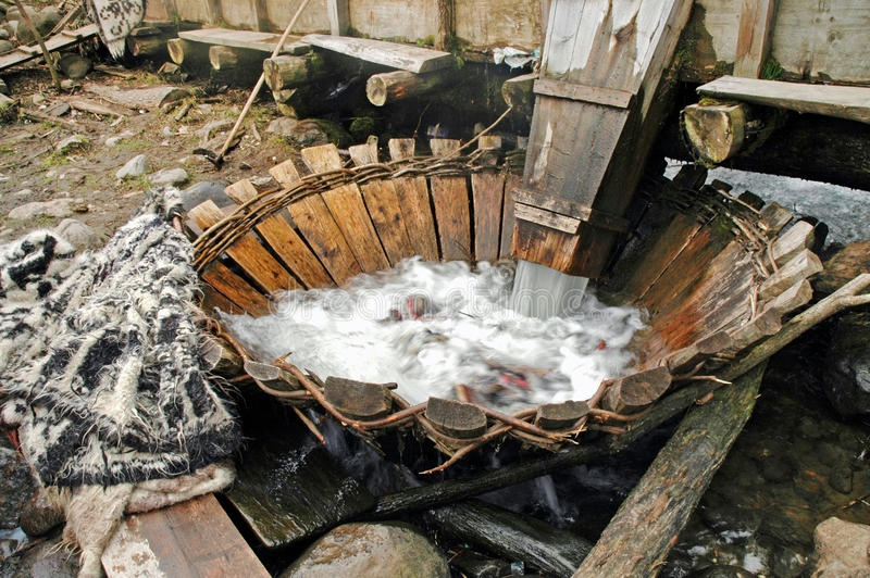 Traditional whirlpool. In a Romanian village from Maramures royalty free stock image