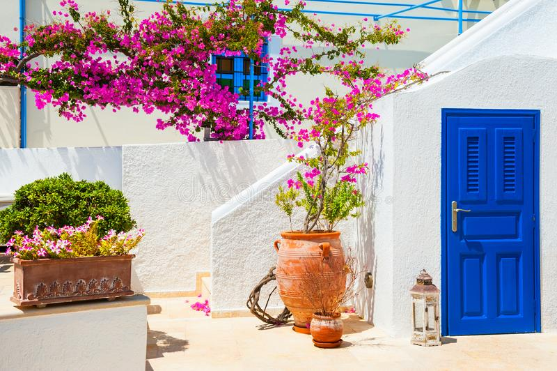 Traditional white-blue greek architecture stock image