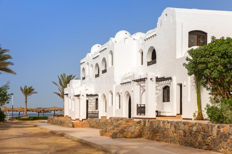 Traditional white egyptian architecture in Hurghada. Harbor stock images