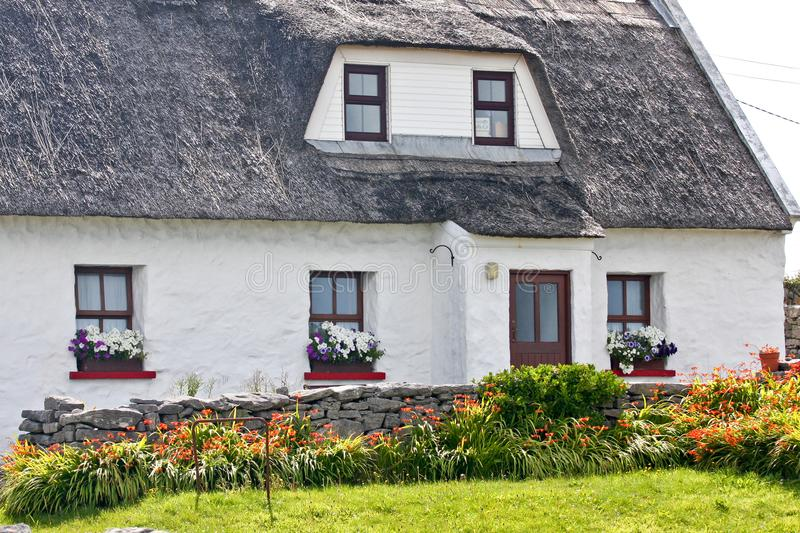 Traditional Irish house, Inisheer, Ireland. Traditional white stone house with thatched roof, Inis Oirr, Aran Island, Ireland stock images
