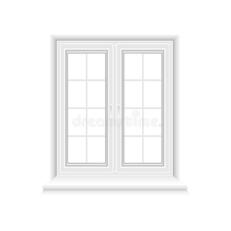 Traditional white window frame on white background vector illustration