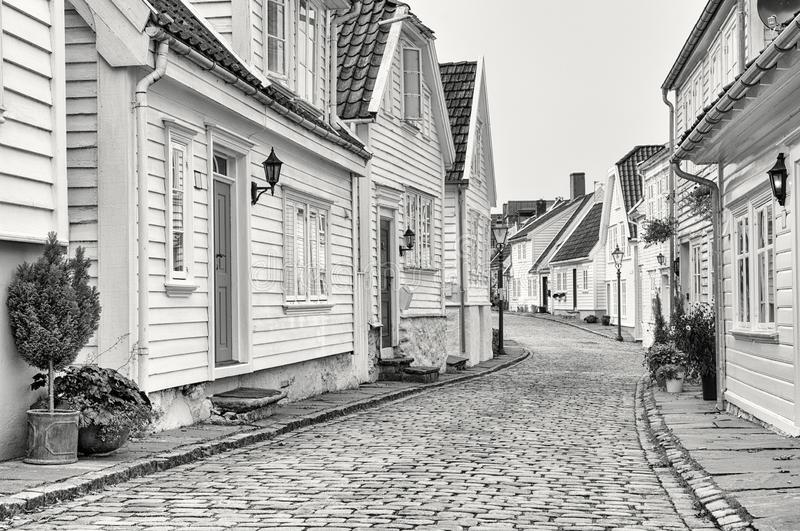 Traditional white wooden houses in Stavanger, Norway. stock image